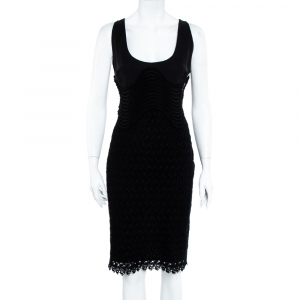 Versace Black Silk & Eyelet Lace Sleeveless Sheath Dress L - used
