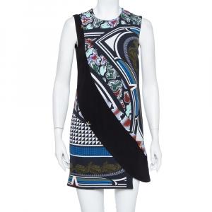 Versace Black Printed Crepe Sleeveless Shift Dress S - used
