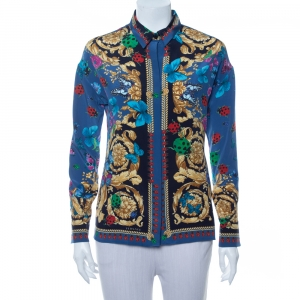 Versace Blue Baroque Butterfly & Ladybug Printed Silk Button Front Shirt S - used