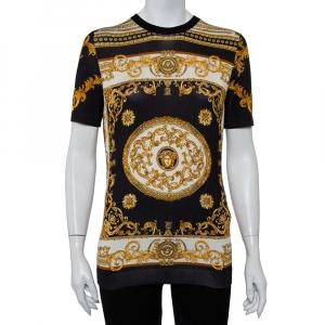 Versace Gold Medusa Head Print Fabric T-Shirt M
