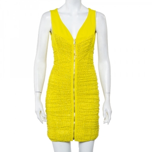Versace Yellow Ruched Mesh Crystal Embellished Mini Dress M