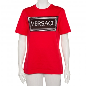 Versace Red Cotton Logo Printed Crewneck T-Shirt M