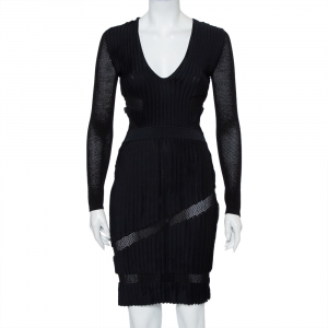 Versace Black Perforated Knit Plunge Neck Sheath Dress S - used