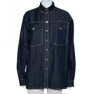 Versace Tribute Indigo Denim Gold Button Embellished Shirt M
