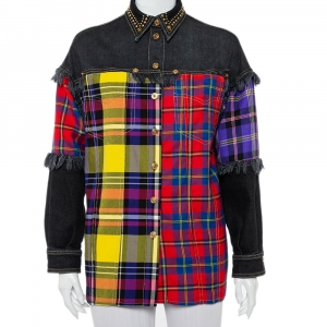 Versace Black Denim & Multicolor Plaided Wool Paneled Rockstud Collar Detail Shirt M