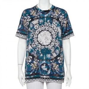 Versace Blue Printed Cotton Oversized Crewneck T-Shirt S - used