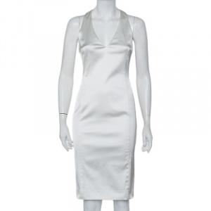 Versace White Sateen Plunge Neck Sheath Dress S - used