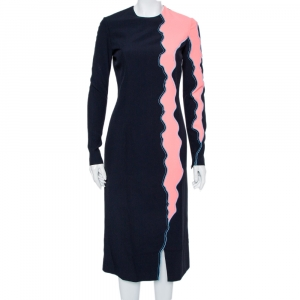 Versace Navy Blue & Pink Panelled Sheath Dress S - used