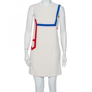Versace Cream Silk Contrast Trim Cutout Detail Mini Dress S - used