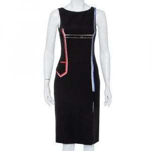 Versace Black Crepe Stone Embellished Sheath Dress S - used