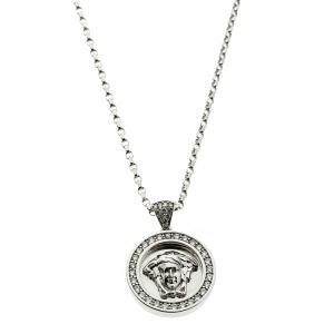 Versace Medusa Diamond 18k White Gold Medallion Pendant Necklace