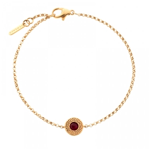 Versace Red Gemstone 18k Rose Gold Soft Bracelet
