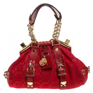 Versace Red Fabric Madonna Boston Bag