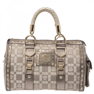 Versace Beige/Metallic Fabric and Leather Snap Out Of It Satchel