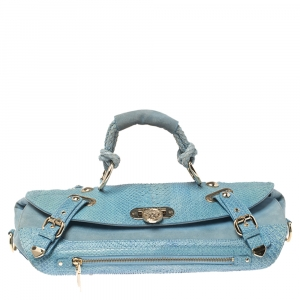 Versace Blue Python and Suede Canyon Top Handle Bag