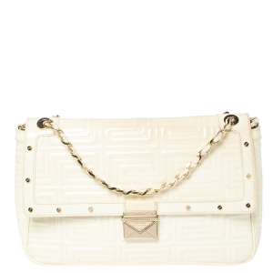 Gianni Versace White Quilted Patent Leather Flap Shoulder Bag