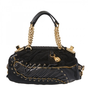Versace Black Leather/Calfhair and Suede Corset Frame Shoulder Bag
