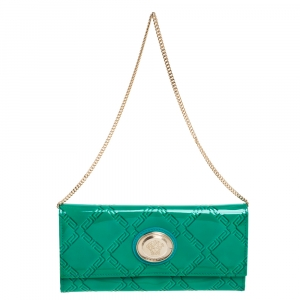 Versace Green Patent Leather Wallet On Chain