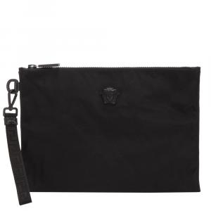 Versace Black Leather  Medusa Clutch Bag