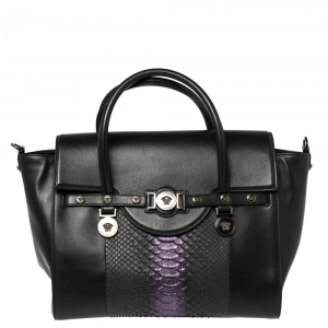 Versace Black Python And Leather Large Signature Tote