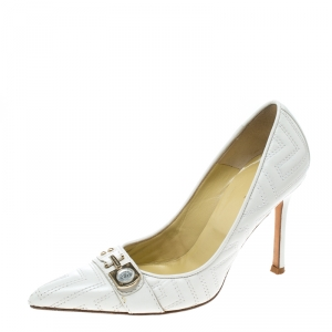 Versace White Leather Pointed Toe Pumps Size 36