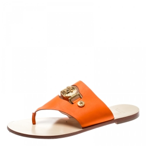 Versace Orange Leather Medusa Embellished Thong Sandals Size 39