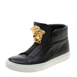 Versace Black Leather Medusa High Top Sneakers Size 38