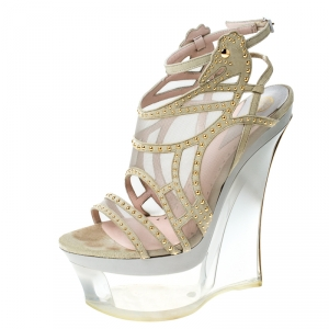 Versace Cream Suede Emebllished Cut Out Ankle Strap Wedge Platform Sandals Size 40 - used