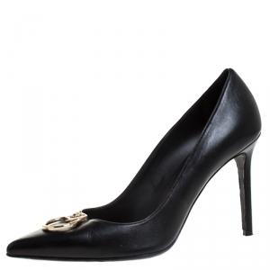 Versace Black Leather Medusa Logo Pointed Toe Pumps Size 41