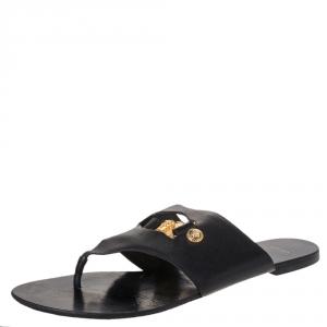 Versace Black Leather Medusa Detail Thong Flats Slides Size 41