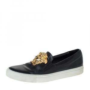 Versace Black Leather Palazzo Medusa Slip-On Sneakers Size 40