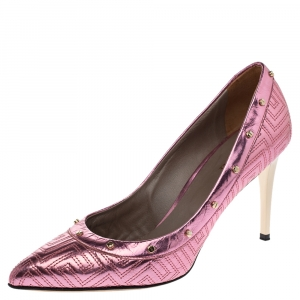 Versace Metallic Pink Leather Greek Key Stitch Detail Pointed Toe Pumps Size 38