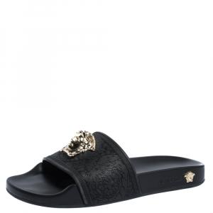 Versace Black Rubber Medusa Flat Slides Size 36