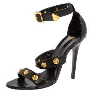 Versace Black Leather Medusa Studded Ankle Cuff Open Toe Sandals Size 37.5