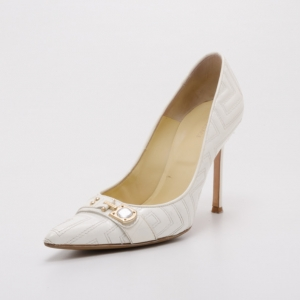 Versace White Patent Leather Pumps Size 40