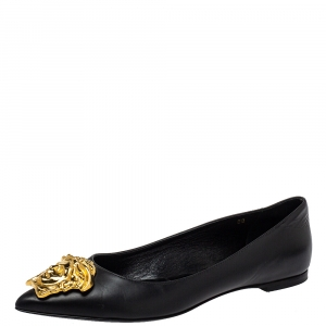 Versace Black Leather Medusa Pointed Toe Ballet Flats Size 38