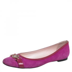 Versace Purple Suede And Patent Leather Ballerina Flats Size 40 - used