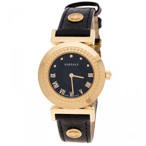 Versace Black Gold Tone Stainless Steel Vanity P5Q Women's Wristwatch 35 mm