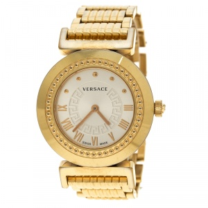 Versace Gold Tone Stainless Steel Vanity P5Q Women's Wristwatch 35 mm