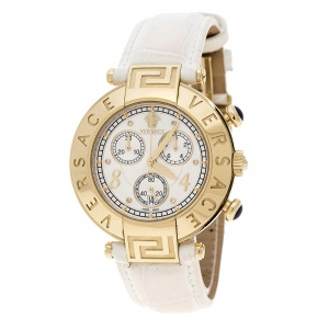 Versace White Mother of Pearl Gold Plated Steel Aion 68C Women's Wristwatch 40 mm