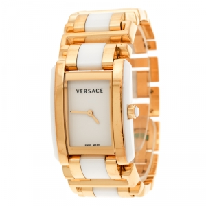 Versace White Ceramic Gold Stainless Steel Era 70Q Women's Wristwatch 24 mm
