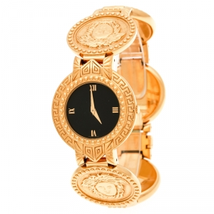 Versace Black Gold Tone Medusa Icon Women's Wristwatch 30 mm