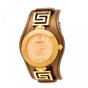 Versace Rose Gold Plated Stainless Steel V Signature VLA Women's Wristwatch 35 mm