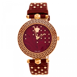 Versace Red Rose Gold Plated Stainless Steel Vanitas K7Q Women's Wristwatch 40 mm