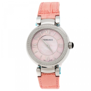 Versace Pink Mother of Pearl Stainless Steel Leda VNC Women's Wristwatch 38 mm