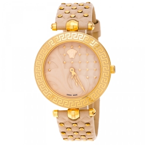 Versace Beige Rose Gold Plated Stainless Steel Vanitas VK7 Women's Wristwatch 40 mm
