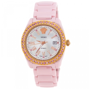 Versace Mother of Pearl Pink Ceramic Pink Sapphire Rose Gold Plated Stainless Steel DV One A360022 Women's Wristwatch 40 mm