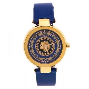 Versace Blue Gold Plated Stainless Steel Mystique Foulard VK6020013 Women's Wristwatch 38MM