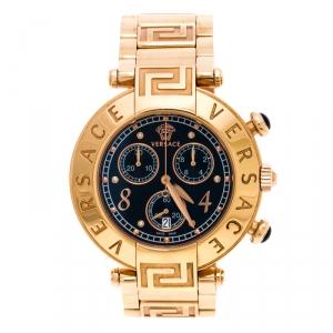 Versace Black Rose Gold Plated Steel Aion 68C Women's Wristwatch 40 mm