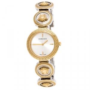 Versace White Gold Tone Signature Medusa Stud Icon VERF008 Women's Wristwatch 26 mm
